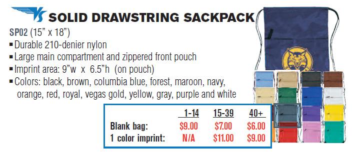 VS Solid Drawstring Sackpack / Shoe Bag